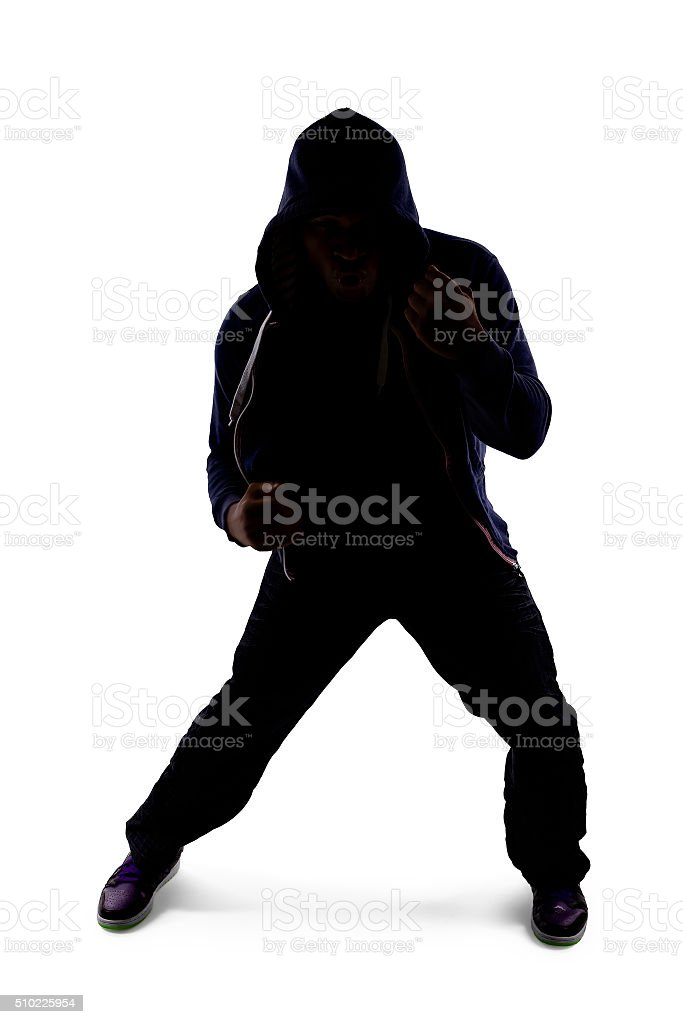 Silhouette of a Fighter Shadow Boxing stock photo