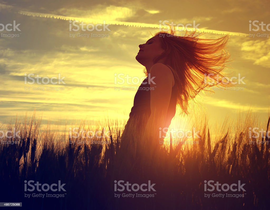 Silhouette of a girl in a barley field stock photo