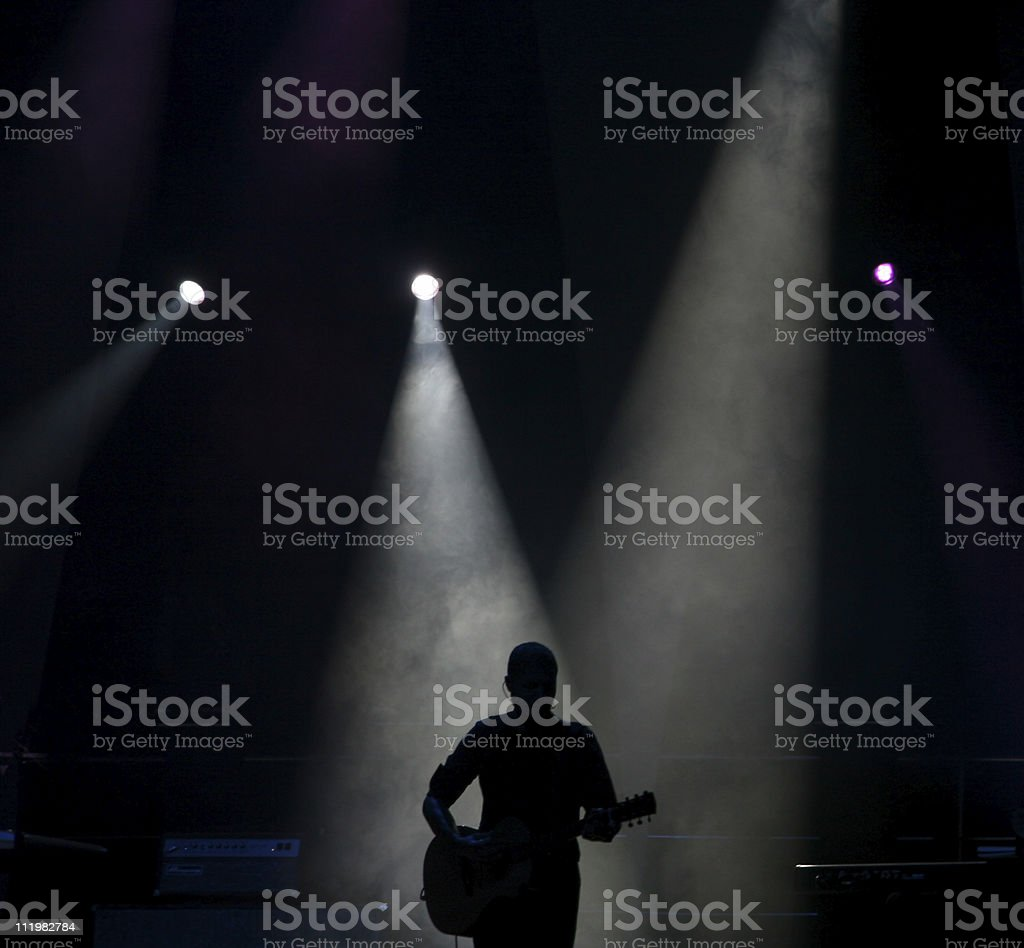 Silhouette Of A Guitar Player royalty-free stock photo