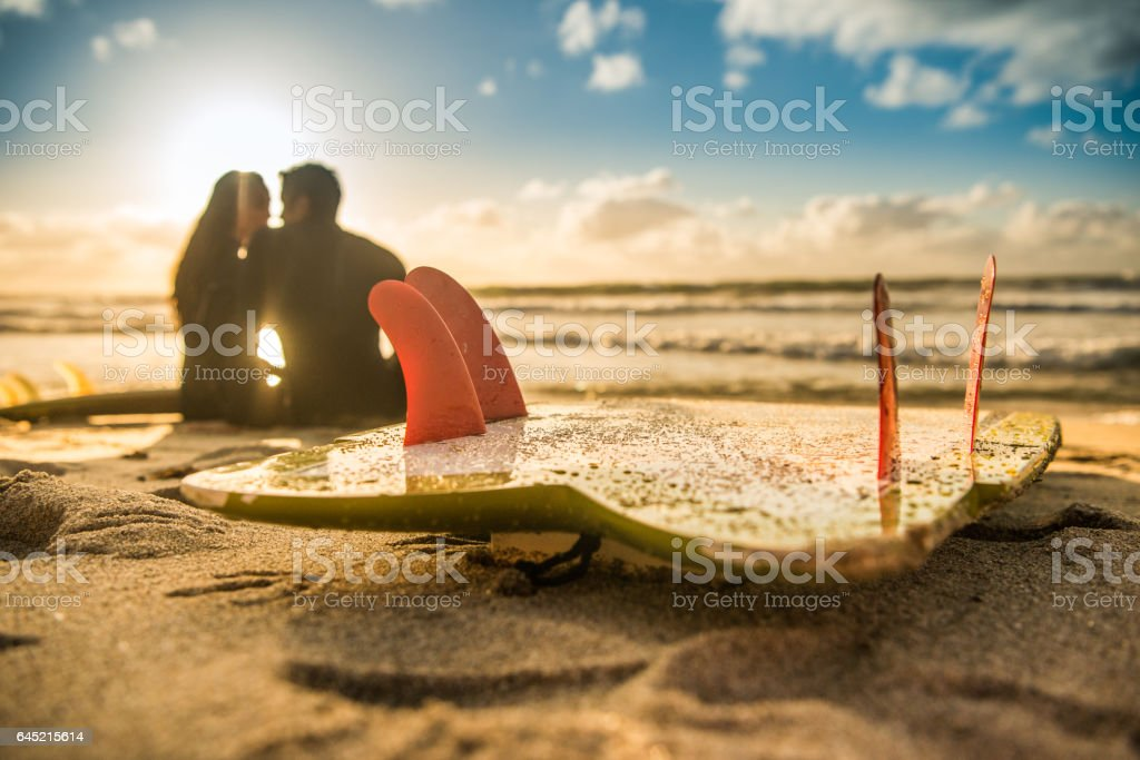 Silhouette of a Loving Couple With Their Surboards stock photo