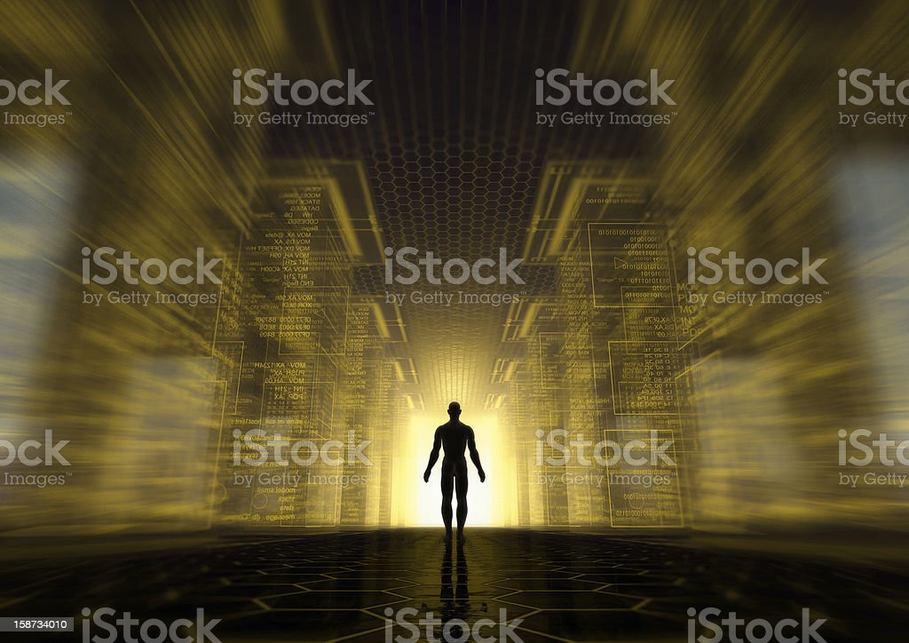 Silhouette of a man in a matrix royalty-free stock photo