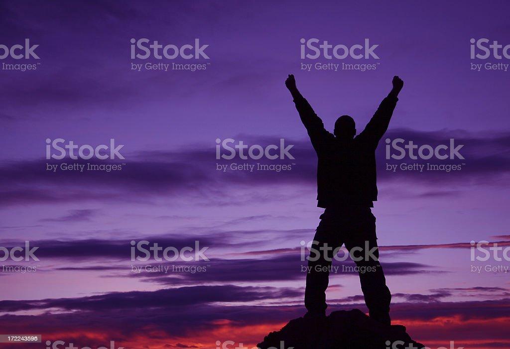 Silhouette of a Man on Mountain royalty-free stock photo