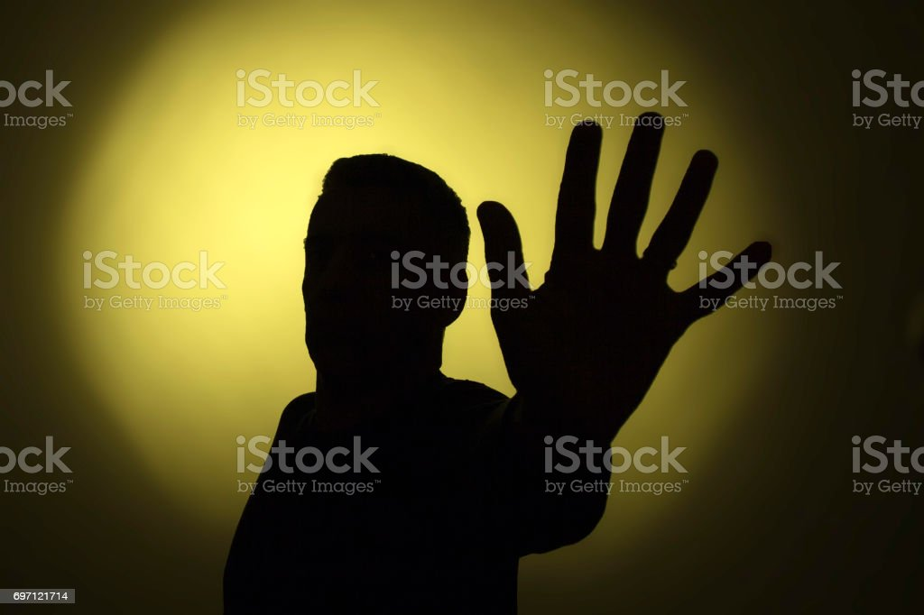 Silhouette of a man stock photo