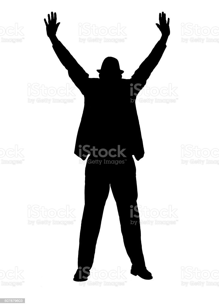 Silhouette of a Man with Arms Outstreched stock photo
