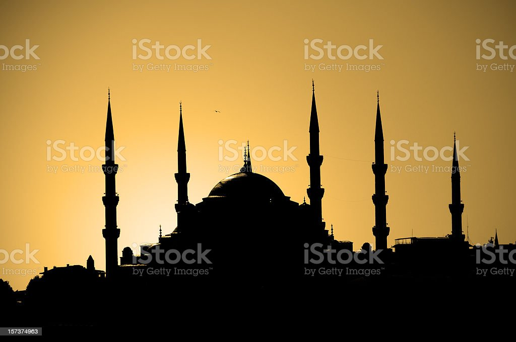 Silhouette of a Mosque in Istanbul, Turkey royalty-free stock photo