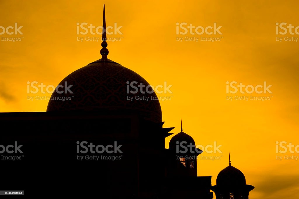 Silhouette of a mosque stock photo