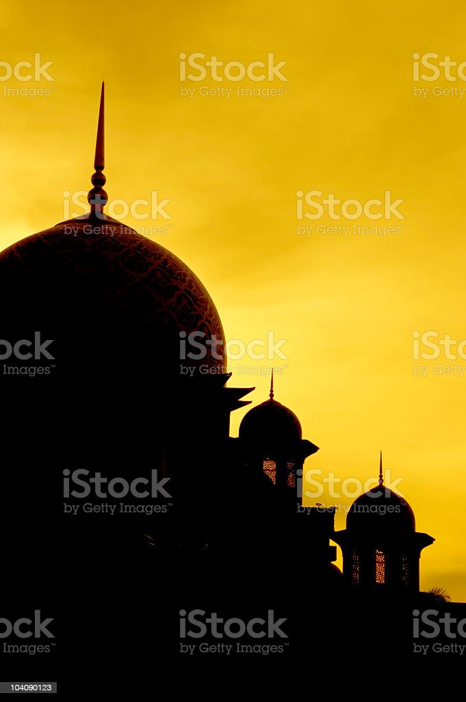 Silhouette of a mosque royalty-free stock photo