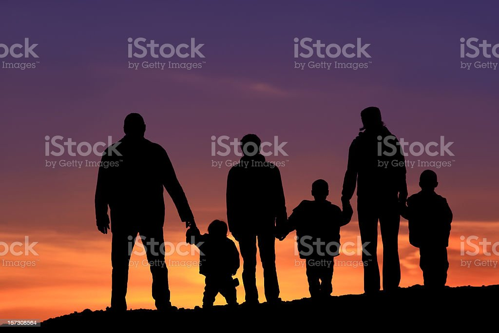 Silhouette of a Multi-Generational Happy Caucasian Family Holding Hands stock photo