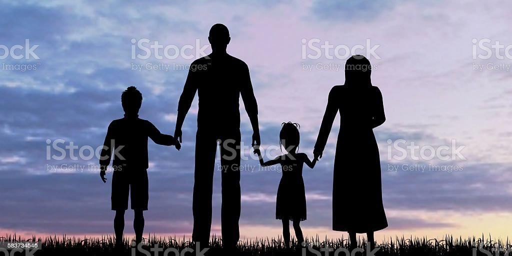 Silhouette of a refugees family with children stock photo