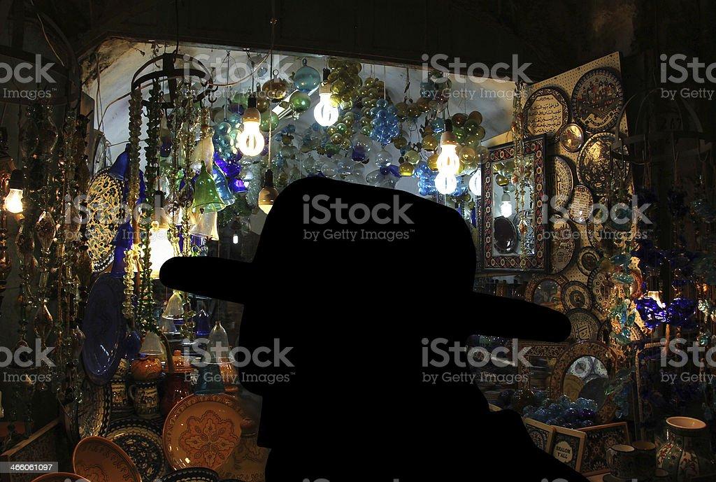 Silhouette of a religious Jew royalty-free stock photo