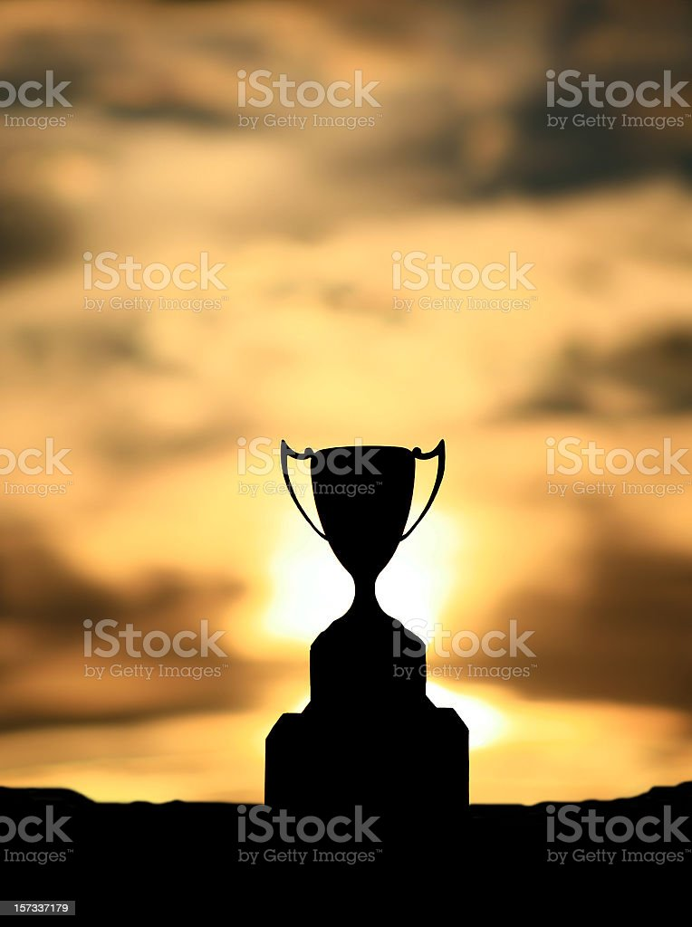 Silhouette of a Silver Trophy Cup stock photo