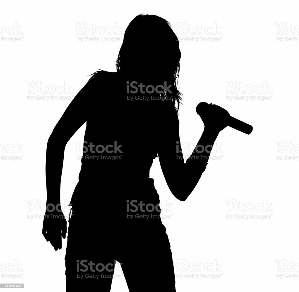 Silhouette Of A Singing Girl royalty-free stock photo