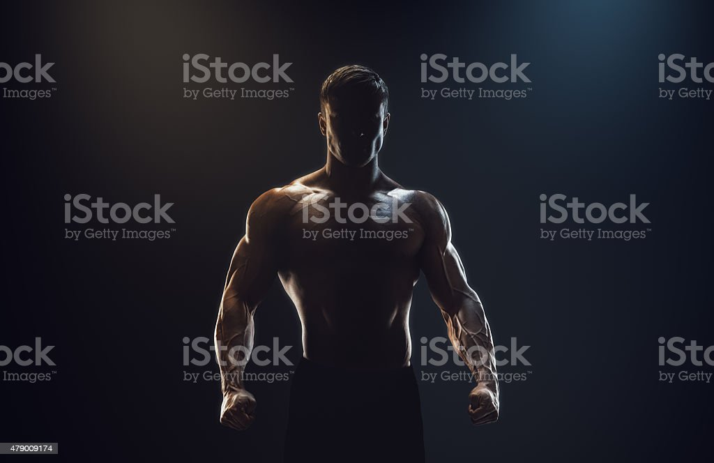 Silhouette of a strong fighter stock photo