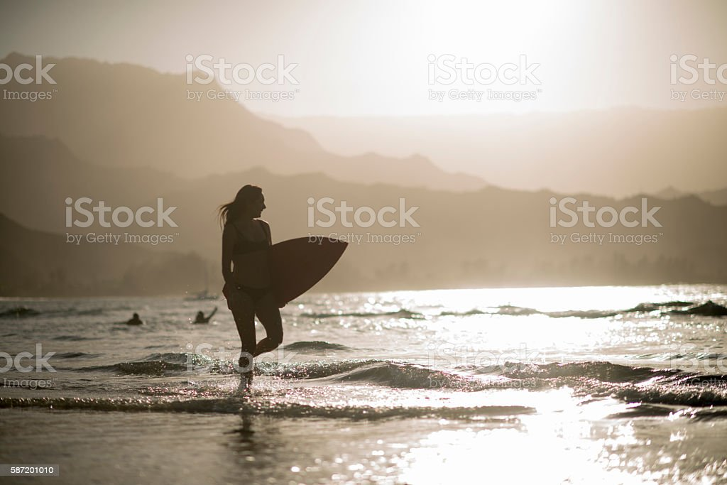Silhouette of a Surfer stock photo