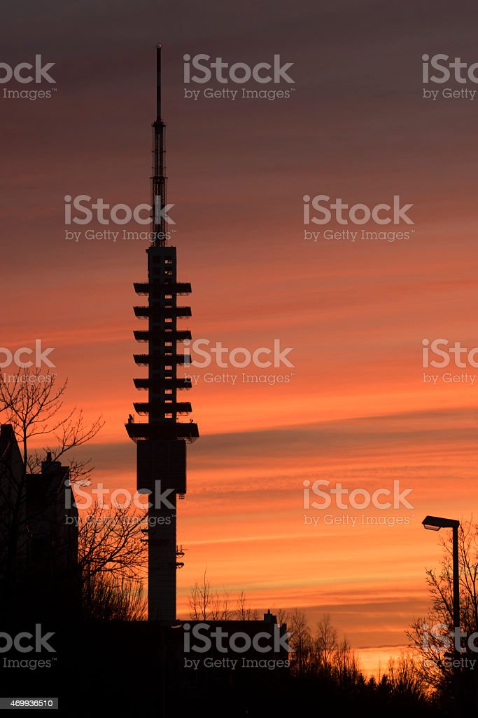 Silhouette of a television tower in Hanover stock photo