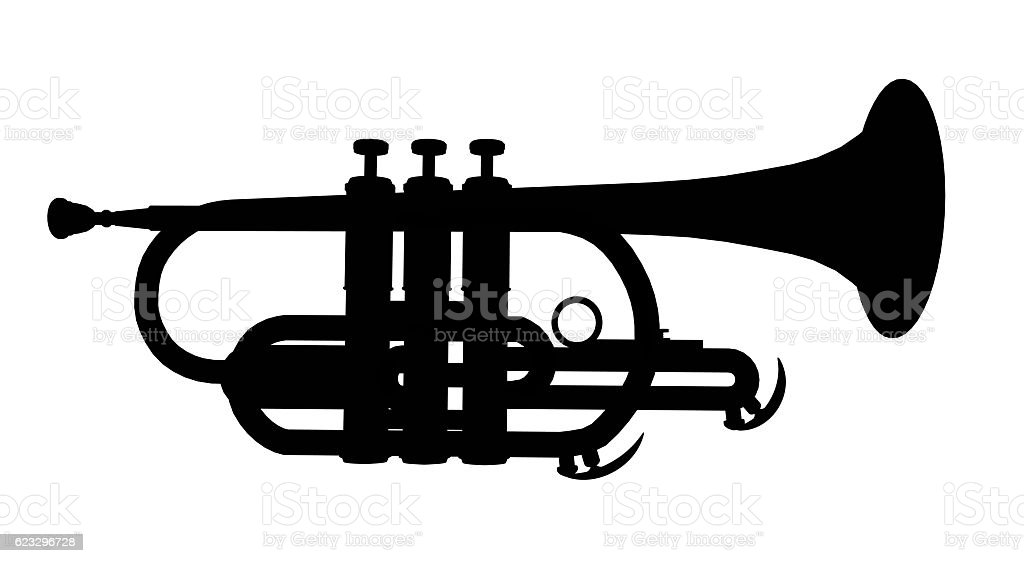 Silhouette of a trumpet stock photo