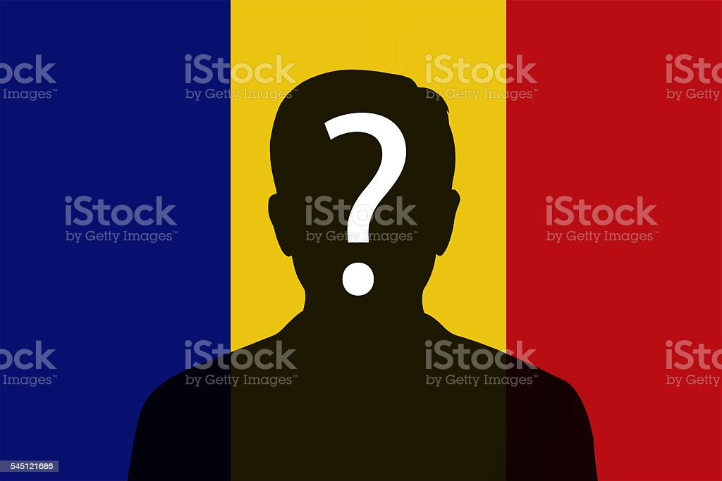 Silhouette of a unknown Romania flag stock photo