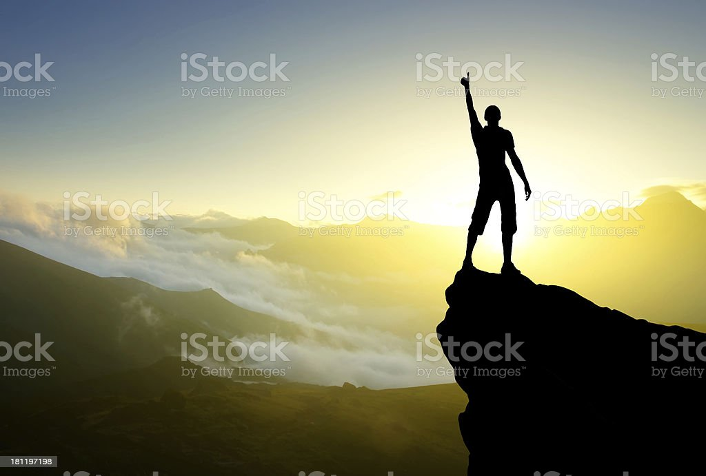 Silhouette of a winner royalty-free stock photo