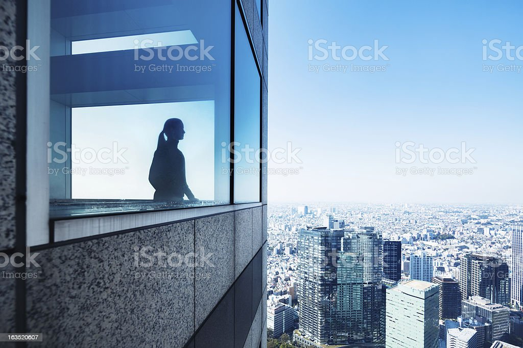 Silhouette of a Woman Overlooking Metropolis stock photo