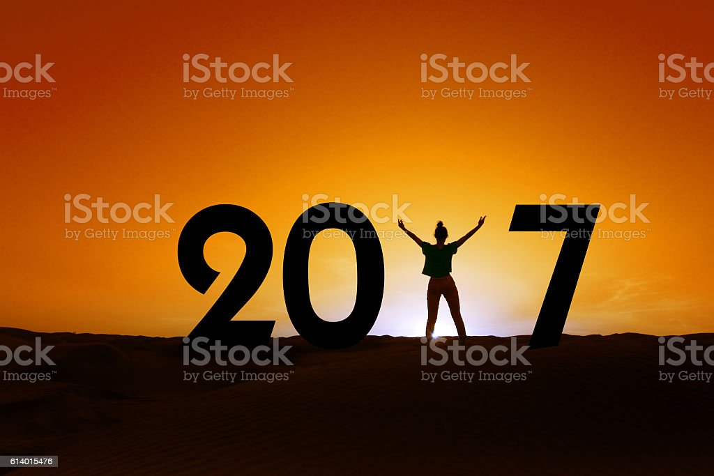 2017, silhouette of a woman standing in the sunset stock photo