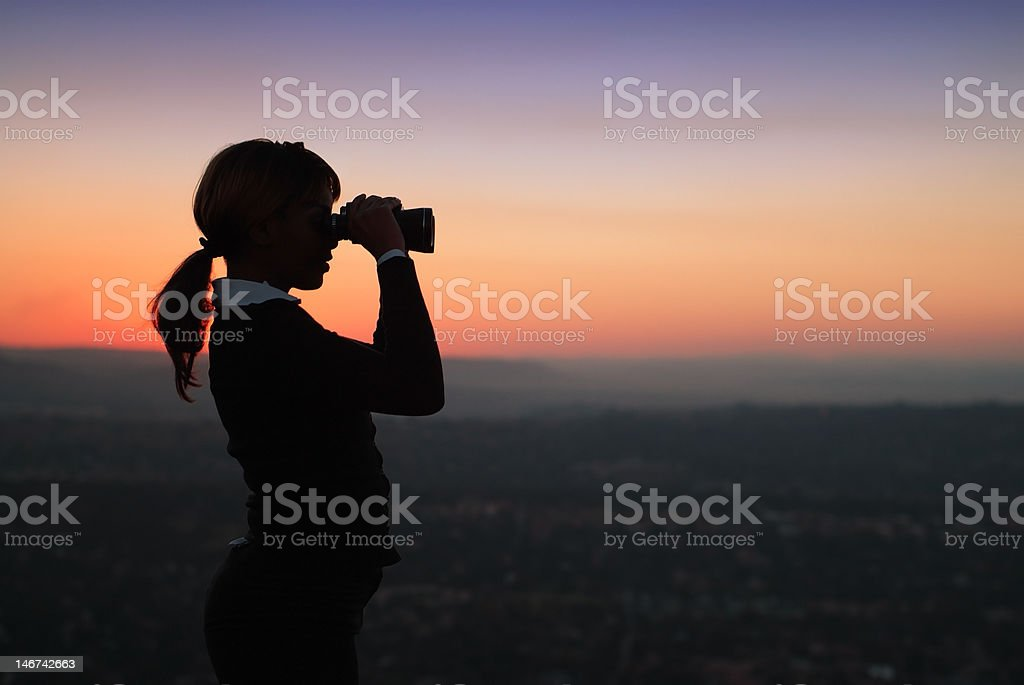 Silhouette of African Anerican Business Woman stock photo