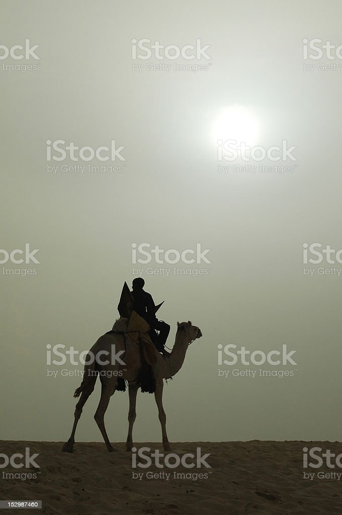 Silhouette of African rider and camel stock photo