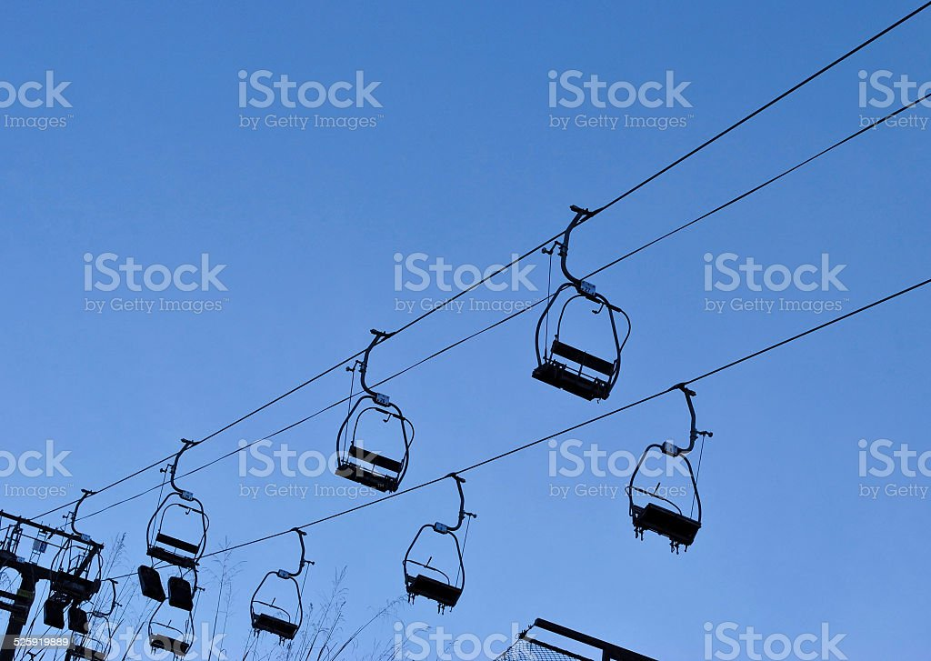 Silhouette of air-cable car stock photo