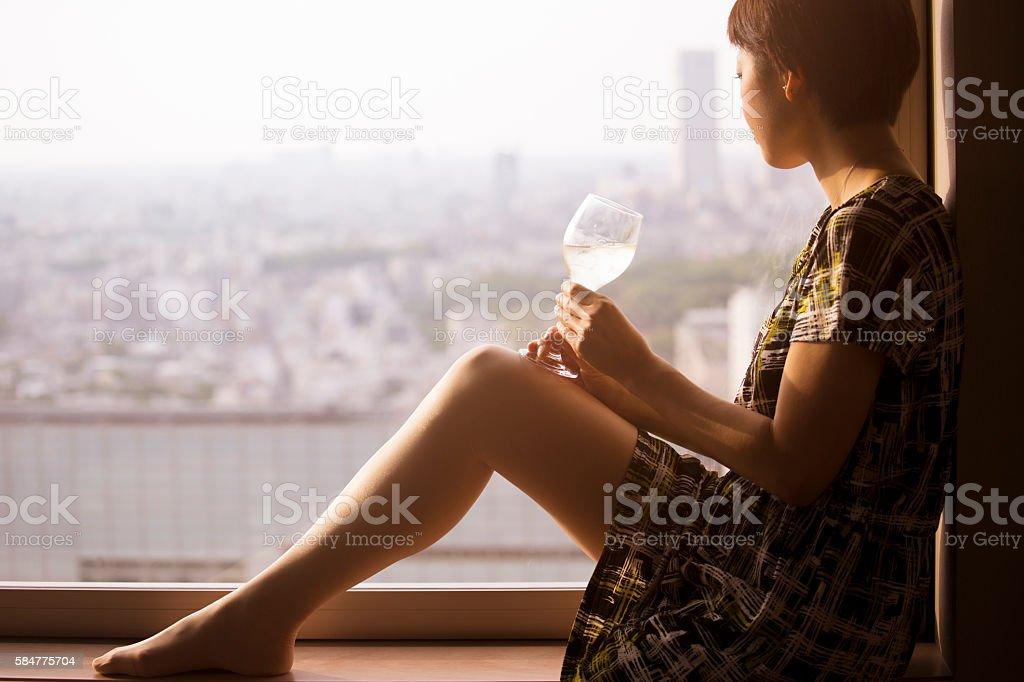 Silhouette of an elegant woman stock photo