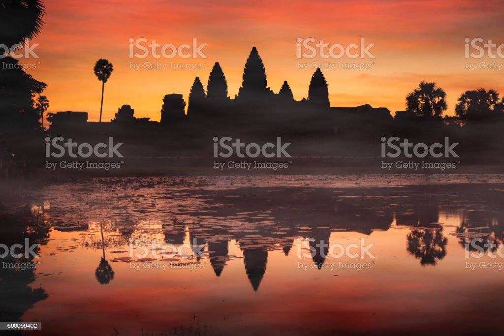 Silhouette of Angkor Wat at sunrise. Monument of Cambodia - Siem Reap stock photo