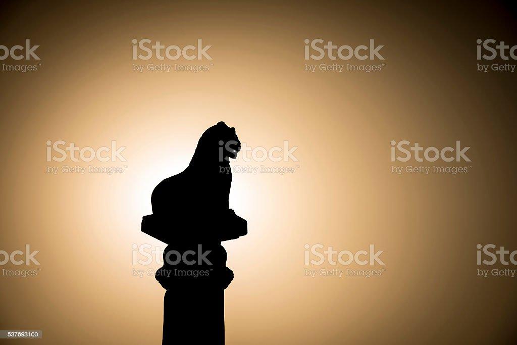 Silhouette of Ashoka pillar. stock photo
