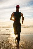 Silhouette Of Athlete With Prosthetic Leg On The Beach