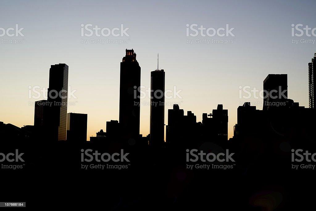 Silhouette of Atlanta Skyline stock photo
