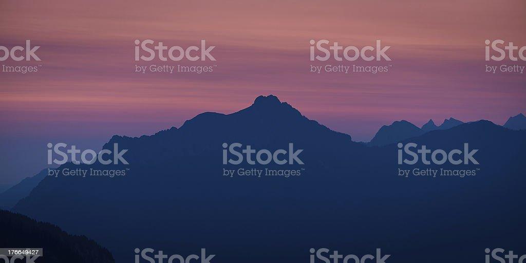 silhouette of austrian mountains royalty-free stock photo