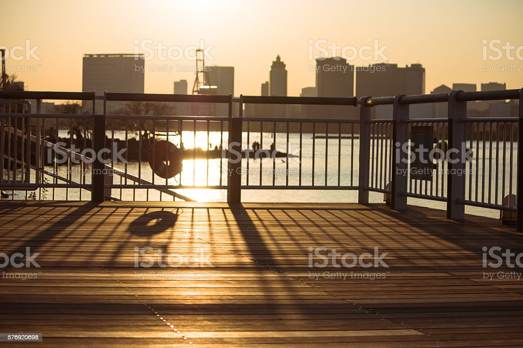 Silhouette of Balcony on the river view. stock photo