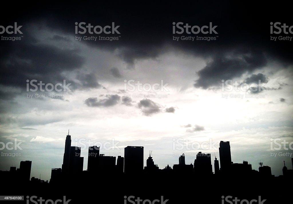 Silhouette of Bangkok City ,Thailand. stock photo