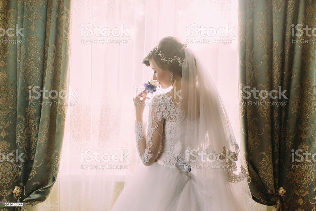 Silhouette of beautiful bride in traditional white wedding dress, stood stock photo