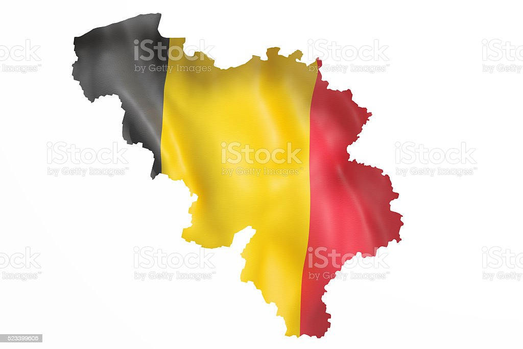 Silhouette of Belgium map with flag stock photo