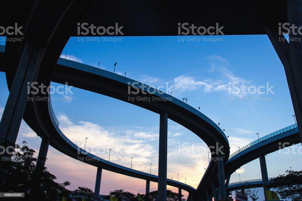 Silhouette of Bhumibol, Industrial ring, bridge in Bangkok, Thailand stock photo