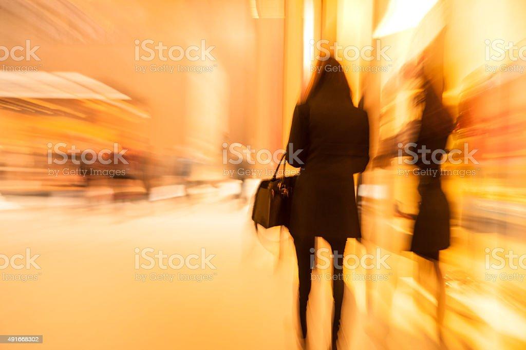 Silhouette of Blurred Unrecognizable Woman stock photo