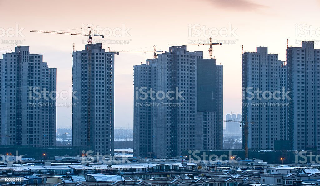 Silhouette of building in winter stock photo