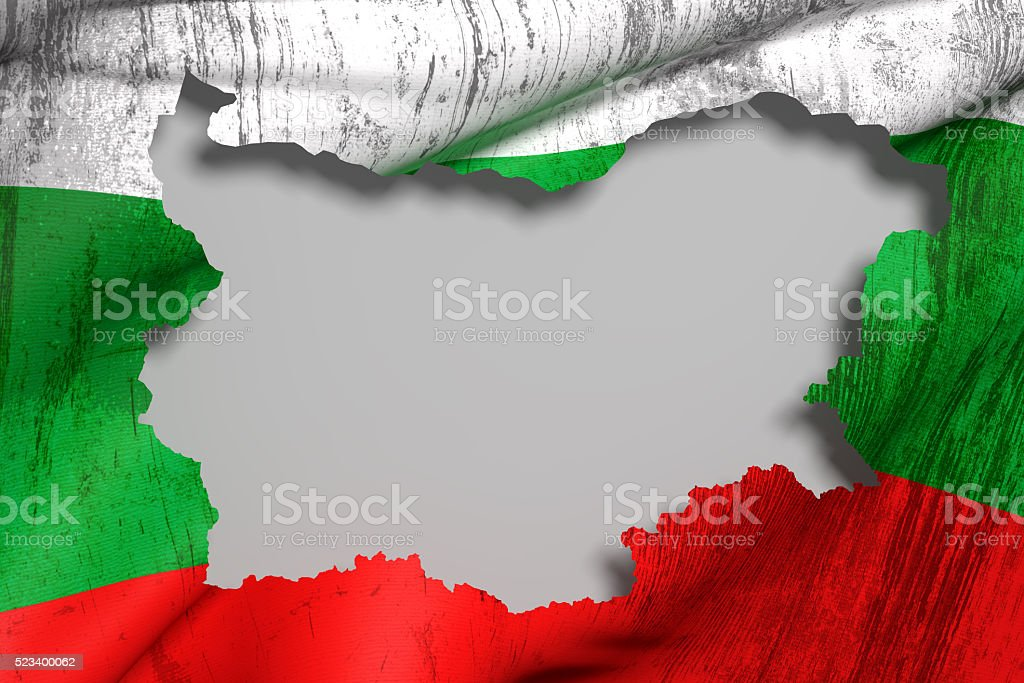 Silhouette of  Bulgaria map with flag stock photo