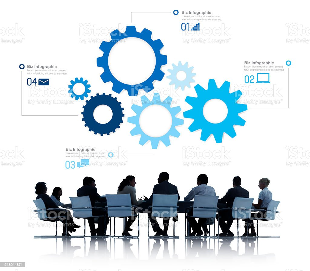 Silhouette of Business People Meeting Infographic stock photo