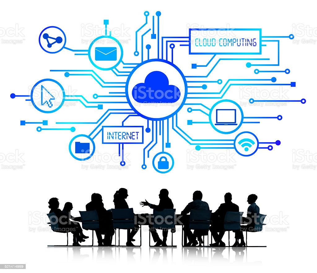 Silhouette of Business Team with Cloud Computing Concept stock photo