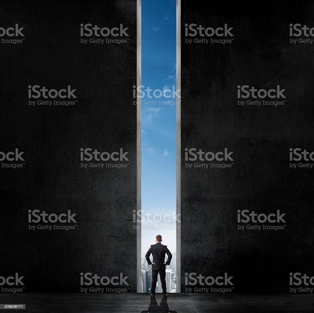 Silhouette of businessman stock photo