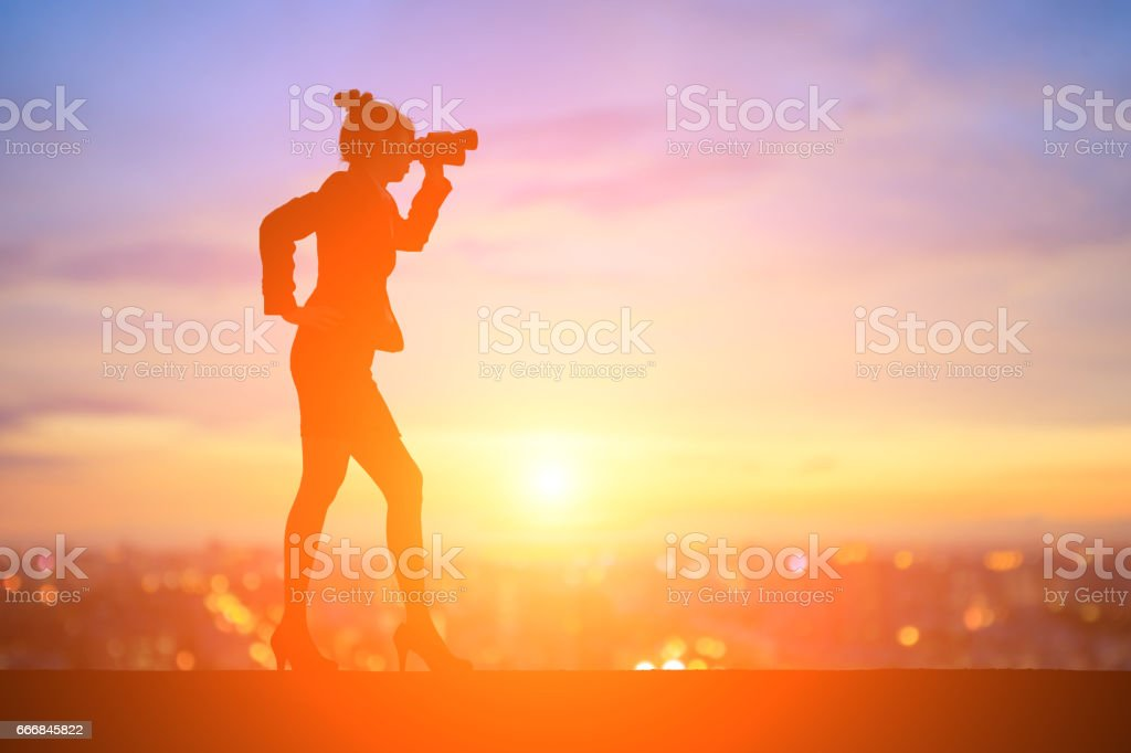 silhouette of businesswoman stock photo