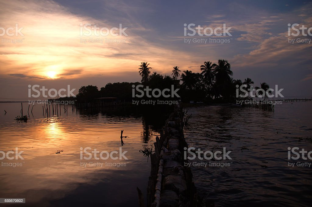 Silhouette of Catatumbo River  during a beautiful sunset in Venezuela stock photo