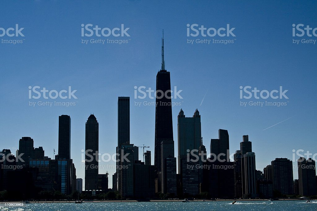 Silhouette of Chicago skyscrapers royalty-free stock photo