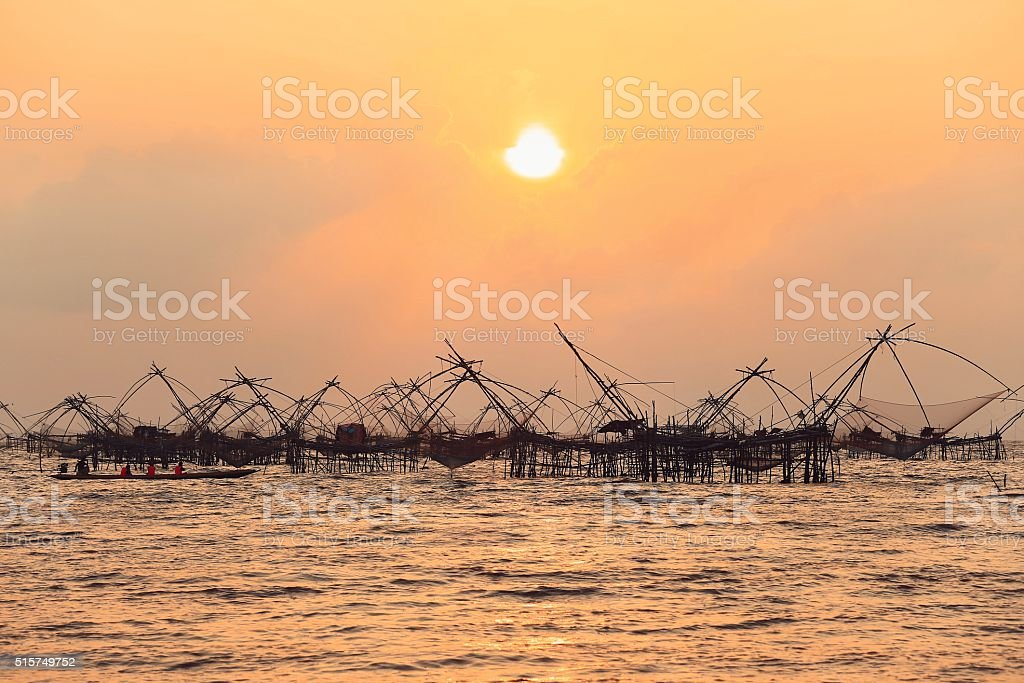 silhouette of Chinese Fishing Net stock photo