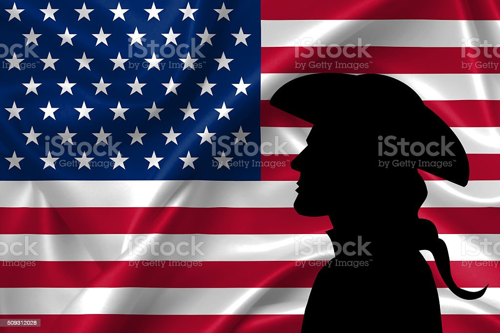 Silhouette of civil war soldier against flag of USA stock photo
