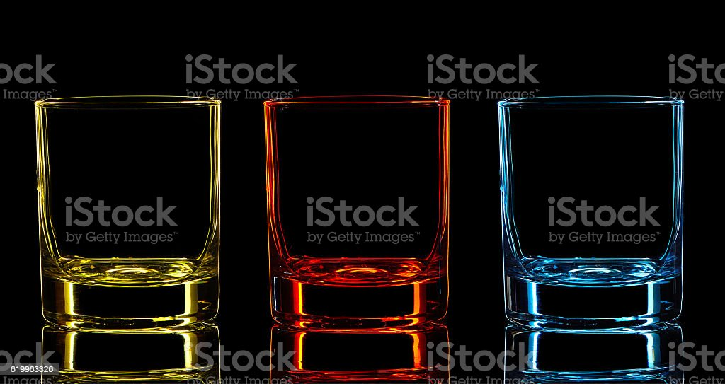 Silhouette of classic glass on black background stock photo